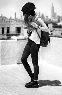 beanie, pretty tee, creepers = hipster all the way