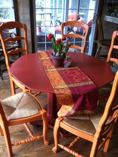 Reuse, recycle, renew! Just painted my mother-in-law's old set of kitchen chairs and table for a guest house. Super cute!