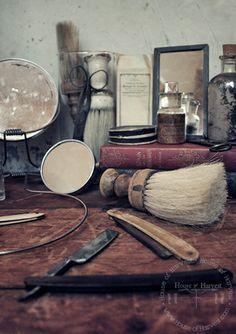 Barber Shop Style from HouseofHarvest.com #antique #vintage #decor #homedecor #fashion #vintagestyle #inspiration #fleamarket #manly #Shave #Razor #Beard