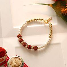 Pearl Beaded Bracelet Rakhi