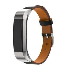Hunputa New Replacement Luxury Genuine Leather Band Strap Bracelet For Fitbit Alta Tracker Black ** Check out this great product. (Note:Amazon affiliate link)