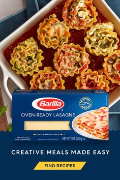 Try Barilla's oven-ready lasagna recipe with traditional sauce and pre-cooked lasagna noodles. This recipe can be prepared in under an hour with the convenience of no-boil noodles! Easy Dinner Recipes, Pasta Recipes, Beef Recipes, Italian Recipes, Appetizer Recipes, Great Recipes, Vegetarian Recipes, Chicken Recipes, Easy Meals