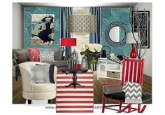 love this eclectic space and color combo