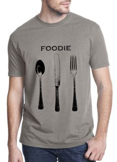 chef shirt - foodie shirt - vintage design FOODIE - men's or unisex stone grey crew neck cooking t-shirt