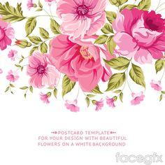 Vintage pink flower cards vector