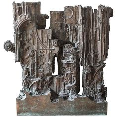Brutalist Abstract Sculpture | From a unique collection of antique and modern bronzes at https://www.1stdibs.com/furniture/more-furniture-collectibles/bronzes/
