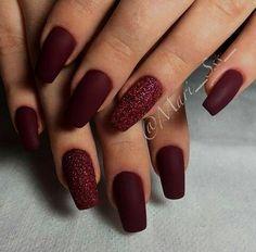 Burgundy Nail Designs, Elegant Nail Designs, Burgundy Nails, Elegant Nails, Classy Nails, Simple Nails, Nail Art Designs, Elegant Chic, Oxblood Nails
