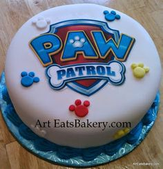 Paw Patrol creative custom boy& birthday cake with logo and paws in blue, red and yellow Paw Patrol Bone Cake, Torta Paw Patrol, Paw Patrol Cupcakes, Paw Patrol Birthday Cake, Paw Patrol Party, Boy Birthday, Birthday Ideas, Cake Disney, Birthday Sheet Cakes