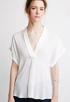 V-Neck Shawl Collar Blouse   Forever 21 - 2000077471