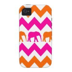 Bold Hot Pink Orange Elephants Chevron Stripes iPhone 4 Cases