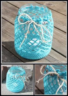 Strikke Maske: Gratis oppskrift på heklet lyslykt til lite norgesglass. Diy Crochet And Knitting, Wine Glass, Presents, Jar, Tableware, Crocheting, Ideas, Glass Boat, Crystals