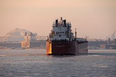 Photo Credit: Mary Sullivan, msullivan@decc.org.  Ship heading out of the harbor, Lake Superior, Duluth, MN, DECC.