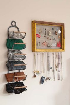 A wine rack is the perfect size for holding clutches – and this blogger was jazzed to find a new use for this often empty decorative piece.
