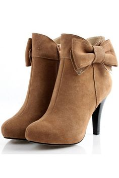 Retro Solid color bowknot boots