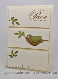 hand crafted Christmas/New Years card from Gothdove Designs by Alison Barclay   ... clean and simple ... three raised panels ... bird from bird builder punch ...  like the added negative space branches to balance the bird ... Stampin' Up!
