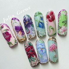 Painted Nail Art, 3d Nail Art, Nail Arts, Glam Nails, Nail Manicure, Beauty Nails, Spring Nails, Summer Nails, One Stroke Nails