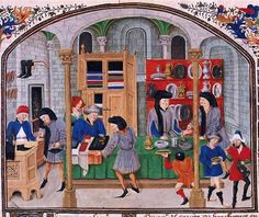 A depiction of a medieval market.