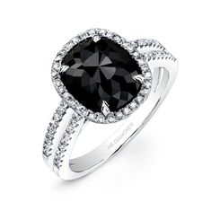 White Gold 2 ct Oval Black Diamond Ring