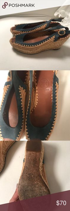 Blue Suede and Wicker Tory Burch Wedge Beautiful for summer! These wedges by Tory Burch are amazing and used but in excellent condition as you can see.   💙💙 Tory Burch Shoes Wedges