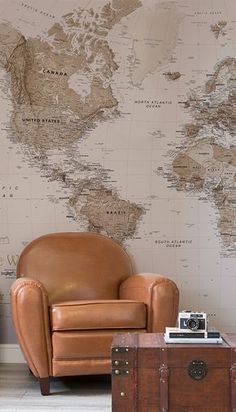 Living Room Wallpaper Inspiration : Bring industrial chic into your home with this beautiful map mural. World Map Mural, World Map Wallpaper, Beige Wallpaper, Room Wallpaper, Cheap Furniture, Antique Furniture, Leather Furniture, Wooden Furniture, Inspirational Wallpapers