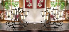 2 Wrought Iron Candle Stand with 6 Glass Hanging Candle Cups Wedding Centerpiece #Unbranded