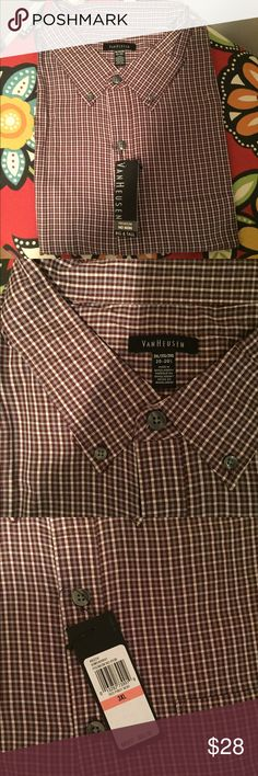 """🆕 Van Heusen Red Plaid No Iron Button Down Shirt Brand new with tags! Thank you for looking!  Neckline is 20 - 20 1/2"""", premium no iron fabric, front pocket! Van Heusen Shirts Casual Button Down Shirts"""