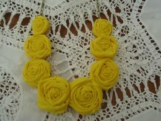 Rosette Necklace Fabric Flower Necklace by JessieKateDesigns, $25.00