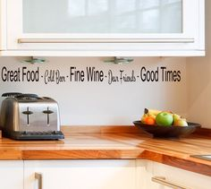 Wine Decor, bar , friends, Cold Beer Wall decal Words Quote Great Food Cold Beer Fine Wine Dear Friends Good Times