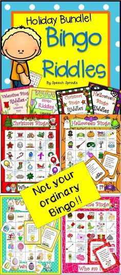 $ The Perfect Holiday activity! Solve the riddles to play bingo. Critical thinking skills = guilt-free holiday fun for your classroom party or speech therapy! Christmas, Valentine's, Easter and Halloween. Quick-prep, includes low color version too!