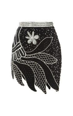 Black And Silver Hand Beaded Skirt by Rodarte for Preorder on Moda Operandi