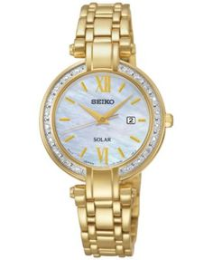Seiko Women's Solar Diamond Accent Gold-Tone Stainless Steel Bracelet Watch 30mm SUT182   macys.com