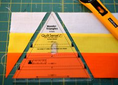 Make a CANDY CORN bunting for halloween THIS IS NICE COULD ALSO MAKE 6 PUT TOGETHER FOR A HEXAGON MUG MAT