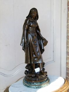 Beautiful bronze sculpture of a lady with flowers by Bouret on a green marble base and Foundry stamp from Discover more outstanding items from Johan Doomen's collection, a professional Belgian antique dealer, on Transferantique. Green Marble, Bronze Sculpture, Sculptures, Europe, Statue, Antiques, Base, Beautiful, Things To Sell