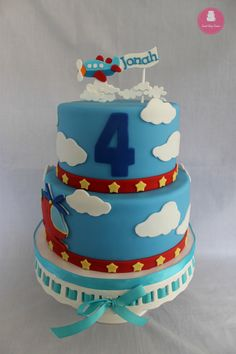 Helicopter and airplane themed birthday cake
