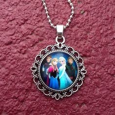 """Frozen Necklace Cute zinc alloy glass cabochon necklace. Makes a great gift! New in package. Chain is about 17 1/2"""". Jewelry Necklaces"""