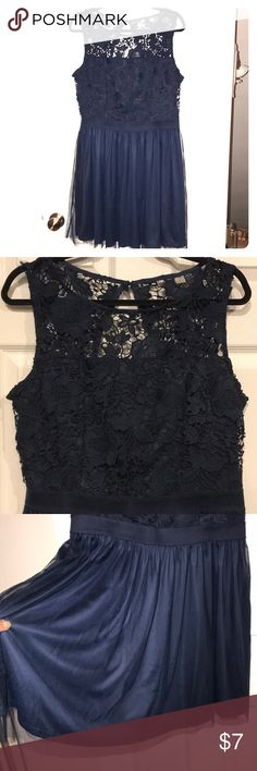 Crocheted overlay top dress flowy bottom Worn once Deep navy. Crouched too sleeveless. Tile overlay bottom. Great for wedding guest or party! 36 inches shoulder to hem Dresses
