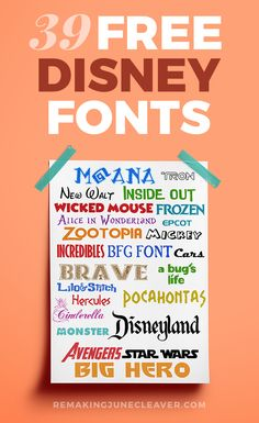 39 FREE DISNEY FONTS - Moana, BFG, Zootopia + More Favorites http://www.remakingjunecleaver.com/free-disney-fonts/?utm_campaign=coschedule&utm_source=pinterest&utm_medium=REMAKING%20JUNE&utm_content=39%20FREE%20DISNEY%20FONTS%20-%20Moana%2C%20BFG%2C%20Zootopia%20%2B%20More%20Favorites
