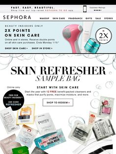 12 free samples + double points for glowing skin - Sephora
