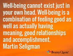 Well-being cannot exist just in your own head. Well-being is a combination of feeling good as well as actually having meaning, good relationships and accomplishment. Martin Seligman