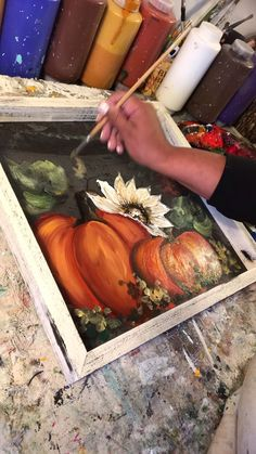 Pumpkin Art painting on screen Rebecaflottarts brings you to her daily journey of creativity! Fall Canvas Painting, Autumn Painting, Autumn Art, Tole Painting, Canvas Art, Fall Paintings, Pumpkin Painting, Painting Lessons, Painting Techniques