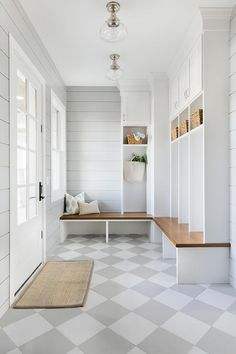 Charming gray and white mudroom