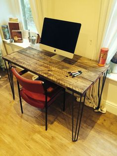 A stunning wooden desk made from reclaimed scaffolding boards and steel hairpin legs. Original features carefully upcycled with trademark painted steel bands and a hand-oiled wooden face. Full of character in a vintage industrial style. Reclaimed Wood Desk, Wooden Desk, Home Office, Office Table, Industrial Office Desk, Pallet Desk, Large Desk, Handmade Wooden Toys, Scaffolding