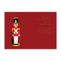A tiny tin soldier in full regalia stands at attention on these rich maroon holiday cards.  Price includes blank white envelopes.