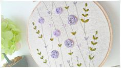 Ribbon Embroidery hoop wall art - Purple Rose Garden Size of hoop 16cm or 6 inches Hand embroidered with high quality made in Japan embroidery ribbon. It is ready to be hang on the wall as wall decorator or stand alone on the tables, cupboards or shelves. At the back of