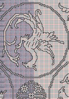 """working drawing 2 for Assisi embroidery design """"dragon-cloth"""" Bargello Needlepoint, Working Drawing, Cross Stitch, Stitch 2, Le Point, Blackwork, Handicraft, Embroidery Designs, Dragon"""