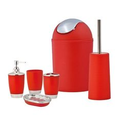 This cool, modern Orange Bathroom Accessory Set will bring your bathroom to life with its vibrant colours and eye catching design. Orange Bathrooms, Bathroom Red, Downstairs Bathroom, Master Bathroom, Orange Bathroom Accessories, Home Accessories, Soap Holder, Soap Dispenser, Plastic Tumblers