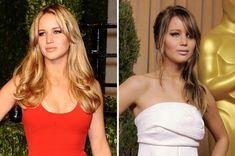 Blonde vs brunette: celebrity hair transformations: Jennifer Lawrence found fame as a blonde bombshell, but the actress opts for honey-brown shades now in between filming for The Hunger Games.