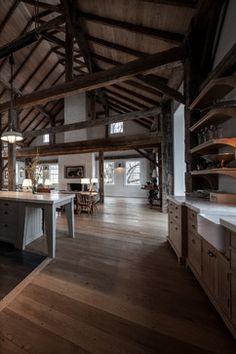 Vintage barn frame addition to Dutch stone house - contemporary - kitchen - boston - KATE JOHNS AIA