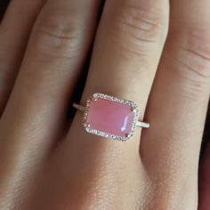 14kt rose gold and diamond guava quartz ring – Luna Skye by Samantha Conn