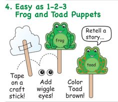 Creative Shapes Etc has great #frog projects for National Frog Month! Make a frog and toad puppets!